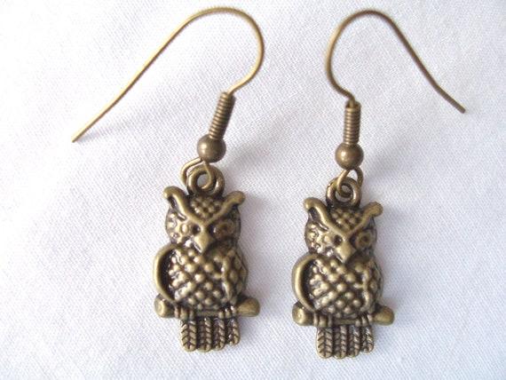 Brass owl metal charm earrings - brass earrings - brass jewelry - owl jewelry - brass owls - owl earrings