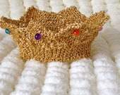 Handknitted Gold Crown for newborn baby, Photography Prop