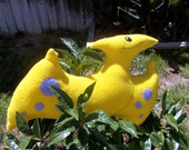 Dan the Yellow Pterosaur -- OOAK Dinosaur Pillow and Toy in One