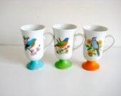 RESERVED SALE Three Colorful Vintage Bird Mugs