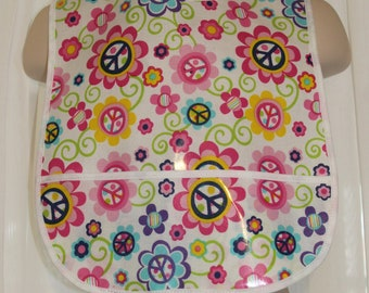 Peace & Flowers Pink Laminated Cotton Catch All Bib
