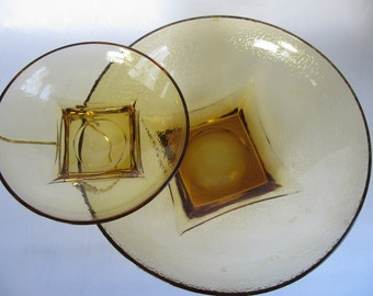 Mid Century Chip and Dip Set, Glass Amber