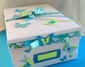 Blue Butterfly Keepsake Memory Gift Box, Gift Box, Memory Box, Keepsake Box, Photo Box