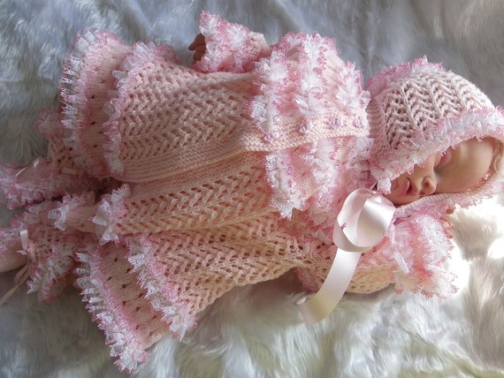 Hand knitted baby cardigan bonnet and booties set