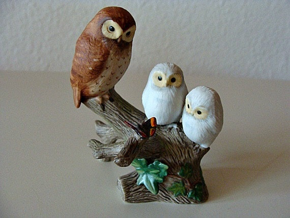 A Country Church In March Owl Figurine Franklin Mint