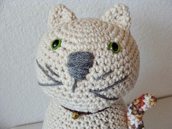 Crochet cat decor door stop - Cat door stoppers ...