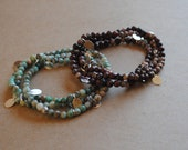 """Triple Wrap Stretch """"Hunter"""" Bracelet (Convertible Necklace) with charms"""