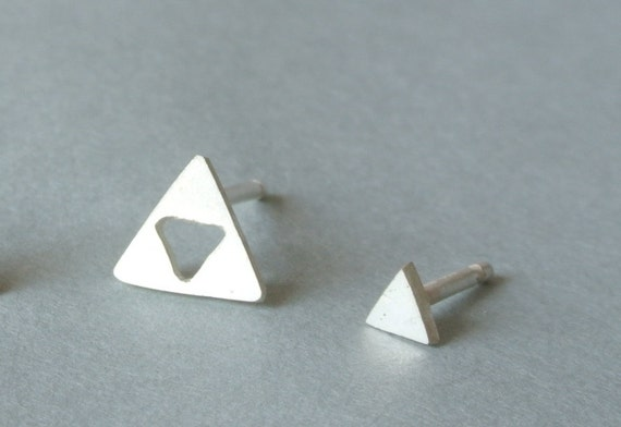 Triangle Earrings. Triforce. Tiny Sterling Silver Post Earring