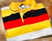 VINTAGE STRIPED POLO - Medium, Yellow White Red Black