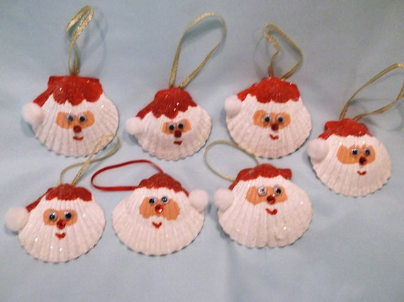 Items similar to set of two seashell santa christmas for Ideas for making christmas ornaments