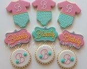 One Dozen Baby Girl  Shower Cookies