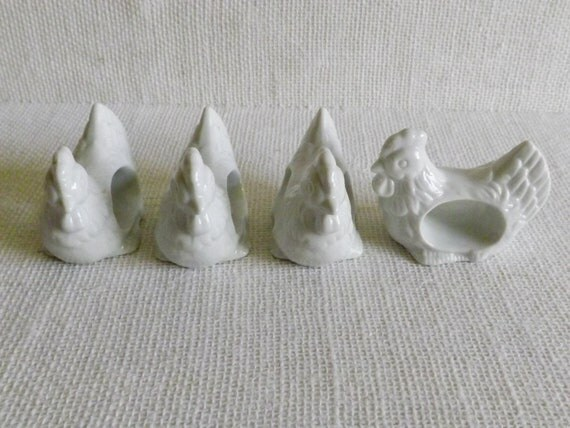 set of 4 white ceramic rooster napkin rings by craftyjrco