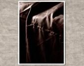 Passion.  Sepia toned photo portrait of black linen fabric.  Minimalist home decor.
