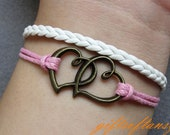 Love Bracelet---Antique Bronze Love Heart 2 Heart Bracelet , White Braid and Pink Wax Cord Bracelet-X264