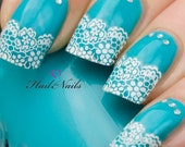French Nail Art Tips Wrap Stickers White Lace inc Crystals - Easy to Apply YD872