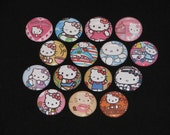 15 Super Cute Rainbow Kitty Flatback or Pinback buttons 1 inch (Set 5)