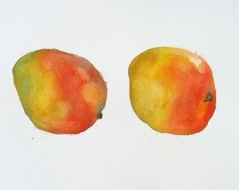"""Mangos -Watercolor Still Life Illustration 10x14"""" Original Artwork"""