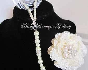 Baby Boutique Ivory Burlap Flower 4-in-1 Beaded Pacifier Holder