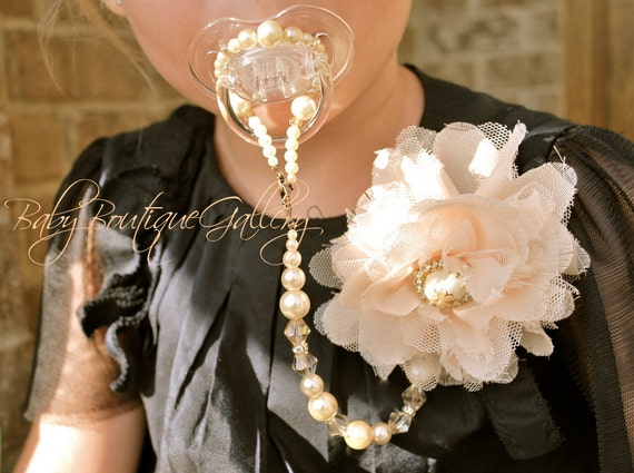 Baby Boutique Pink Flower 4-in-1 Beaded Pacifier Holder