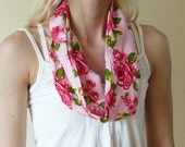 Pink Roses Infinity Scarf - Summer weight - UK seller