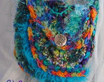 Handbag women teen teal orange pink in freeform crochet Deevinci  READY TO SHIP