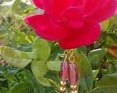 """1.5"""" Handmade Pink and Golden Danglies"""