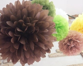 10 Tissue Paper Pom Poms - Choose your Colors - Wedding Decor - Party Decor - Home Decor