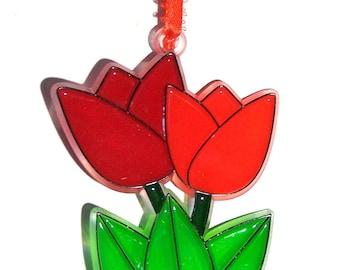ORNAMENT - Tulip Duo - Acrylic - Red - Orange - Handpainted Home Decor