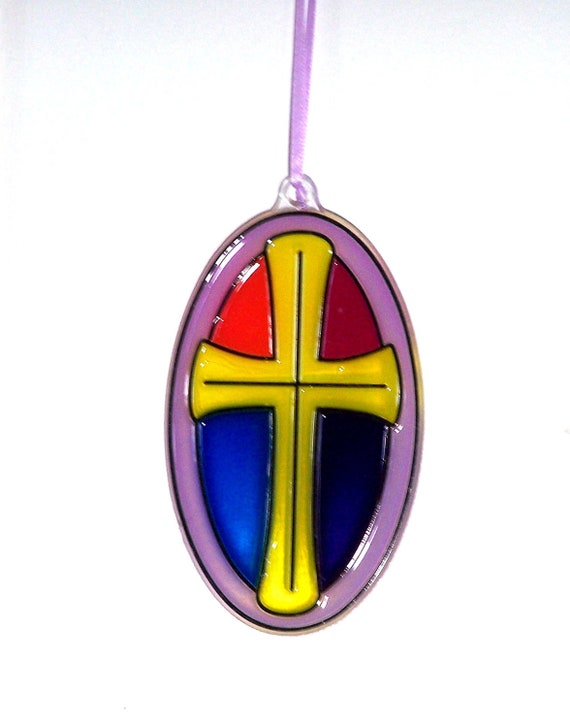 ORNAMENT - Cross-Stained Glass Look - Acrylic - Red - Yellow-Blue-Purple-Lilac Handpainted Home Decor