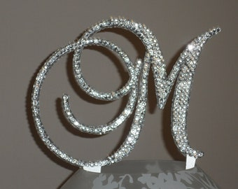 Gorgeous Swarovski Crystal Cake toppers 5'' with crystals added front, back & sides in Any Letter