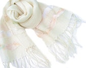 summer romantic shawl linen - pastel  frayed wheels - Scarf wrap natural - white linen - Eco linen scarf summer -Feathering