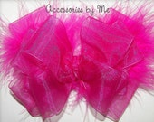 Frilly Hair Bow Shocking Pink Organza Marabou Feathers Girls Baby Toddler Accessory Clip Pageant Occasions