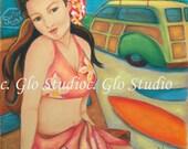 Vintage Hawaiian Surfer Girl, Art Print