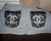 Black Lace Chanel Blue Jean Mini Skirt Swarovski Rhinestoned Cc Logo