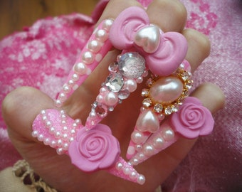 Pink Hime Kawaii 3D Deco Gyaru Lolita Princess Nails