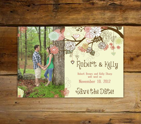 Save The Date - Shabby Chic Love Tree