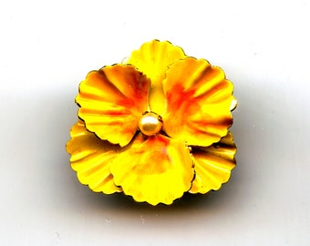 Original by Robert Yellow Enamel Yellow Flower Pin with Pearl Accent
