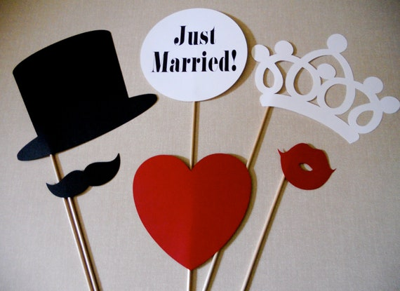 Just Married Photo Props.  Just Married Photo Booth Props.  Photo Props.  Photo Booth Props.  Wedding.  Set of 6.