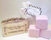 Lavender Luxury Gift Collection, 4 Bath Fizzies, Goat Milk Soap, and Lavender Creme Milk Bath Tea