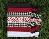 7 Pack Alabama HOUNDSTOOTH Zebra Bama Crimson White Knot Hair Ties Stretch Fold Over Elastic FOE Pony Tail Holder Bracelet