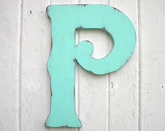 """Wooden Letters Decorative P 18"""" Wall Decor Distressed Patina Home Decor Large Letters Gift"""
