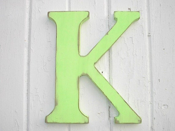 Nursery letter k wooden 12 inch letters wall hanging home for Where to buy wooden letters for nursery