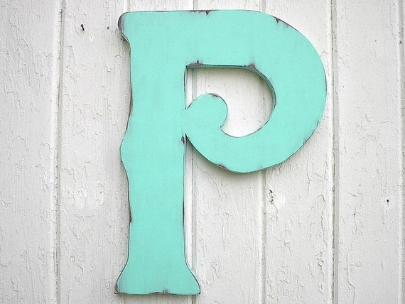 "Wooden Letters Decorative P 18"" Wall Decor Distressed Patina Home Decor Large Letters Gift"
