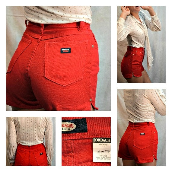 80s High Waisted Shorts, Jordache High Waisted Shorts, Red Denim Shorts, High Waist Shorts, Denim Shorts