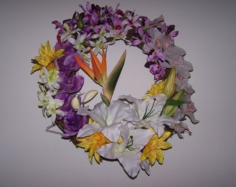 Tropical wreath with Bird of Paradise
