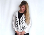 Printed Cardigan in Oatmeal - Parrot Bird Print - Black and White