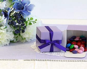 50x Lavender Wedding Favor Cube Boxes-Bridal Shower-Baby Shower-Party Favor-Candy Gift Box 2x2x2