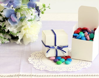 50x White Wedding Favor Cube Boxes-Bridal Shower-Baby Shower-Party Favor-Candy Gift Box 2x2x2
