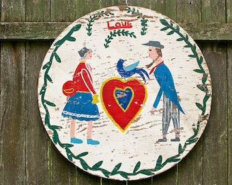 Early Primitive PA Dutch Folk Art Handpainted LOVE Sign