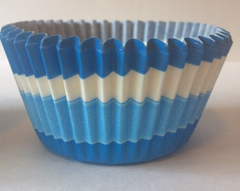 Baby & Medium Blue, White Tilt-a-Whirl Swirl Cupcake Baking Cups Wrappers 50 pcs, Ocean, Shark or Under the Sea Mermaid birthday party